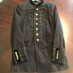 Black velvet military style jacket / blazer